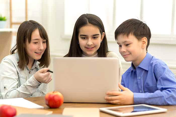 Kids at a laptop